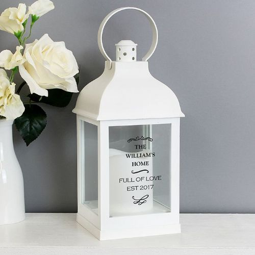 Personalised Antique Scroll White Lantern